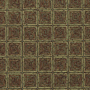 Grid pattern of metallic gold with small squares of lime green and bronze within the larger squares on a burgundy ground.