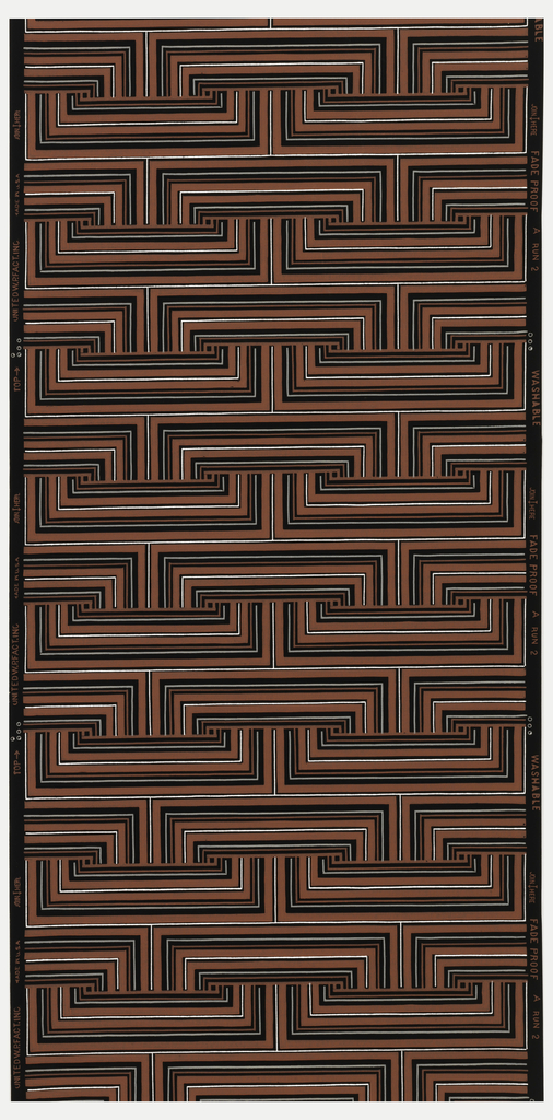 Geometric patterning of coral, grey, and metallic silver lines forming connecting rectangles on a black ground.
