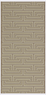 Geometric patterning of red, white, grey, and metallic gold lines forming interconnected rectangles on a beige ground.