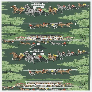 Grey, black, and white horses with chariots and riders wearing red and yellow on a dark green ground.