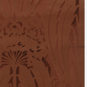 Damask-type design. Printed in cranberry color on red ingrain paper.