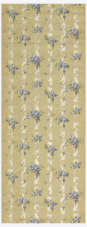 Blue floral sprigs and white foliate scrolls printed over light gray mica stripes. Printed on ungrounded paper.
