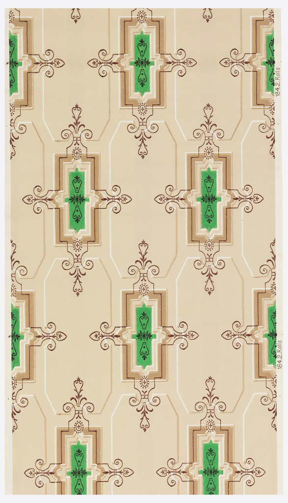 Bright green and tan rectangular medallions alternating with inset panels. Printed on light tan ground.