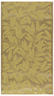 Large-scale leaf and berry design. Printed in a pale yellow on a tan silk and cotton textile.