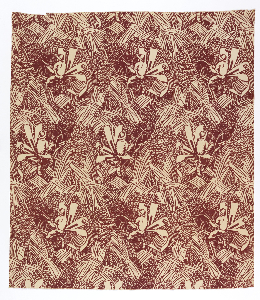 Length of printed fabric with an alternating horizontal repeat of a a man driving a combine, surrounded by sheaves of wheat forming a diagonal pattern, in dark red on white.