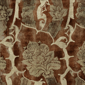 Length of printed velvet with a pattern of curving artichoke forms in rows that alternate direction; inside each artichoke is a curvilinear flower and stem. Printed in silver metallic pigment on a soft, irregular pink ground.