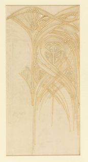 Piece of sheer silk embroidered with stylized lily-like forms with thin crossing stems, in off-white and pale yellow silks on white silk chiffon and net.