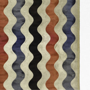 Length of silver fabric with undulating vertical stripes of cut velvet in black, blue and rose.