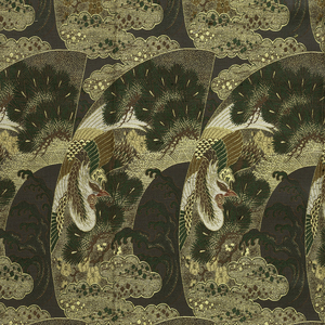 Length of obi fabric in silk and metallic brocade: a deep gray ground with a stylized arrangement of clouds, waves, pine trees and birds in green, brown, red and metallic gold.