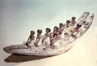Boat (a) with upward curving bow and stern, and flat-bottomed center. Eight pairs of oarsmen, dressed in white loin cloths, seated on square blocks. Pilot standing in bow. Helmsman and mast missing. Separate, long steering oar (b) with blade rounded at end; undecorated.