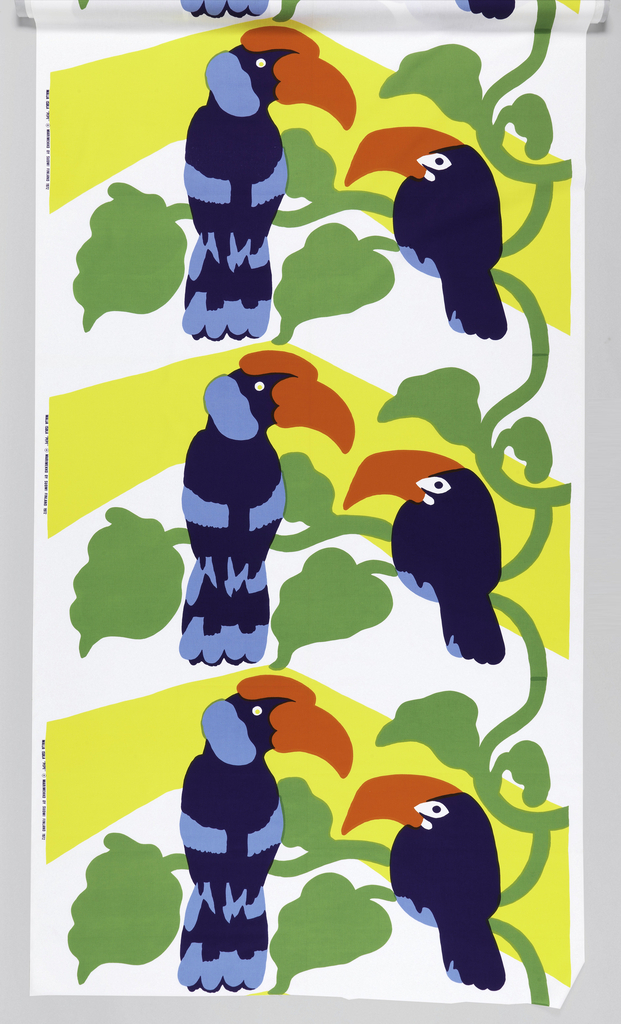 Two large billed birds (toucan and cockatoo) on a curving vine in two blues, red, green and yellow on white.