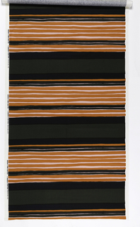 Groups of narrow bands of orange, black and white, separated by larger dark grey bands.