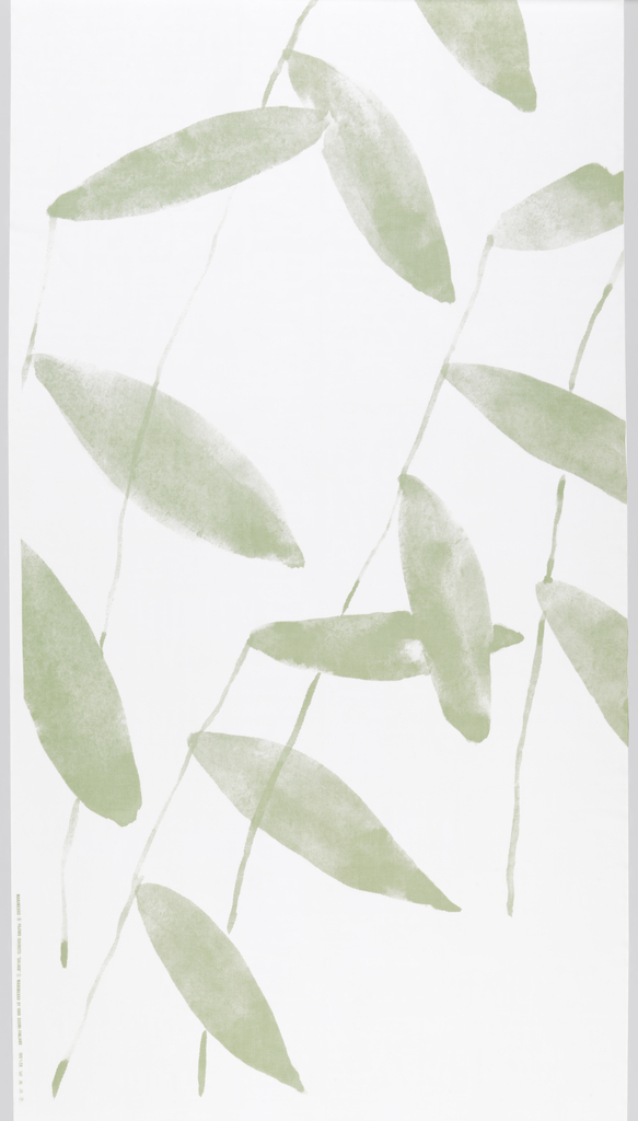 Sheer white fabric with large-scale design of slender stems and leaves in pale green slanting across the width.
