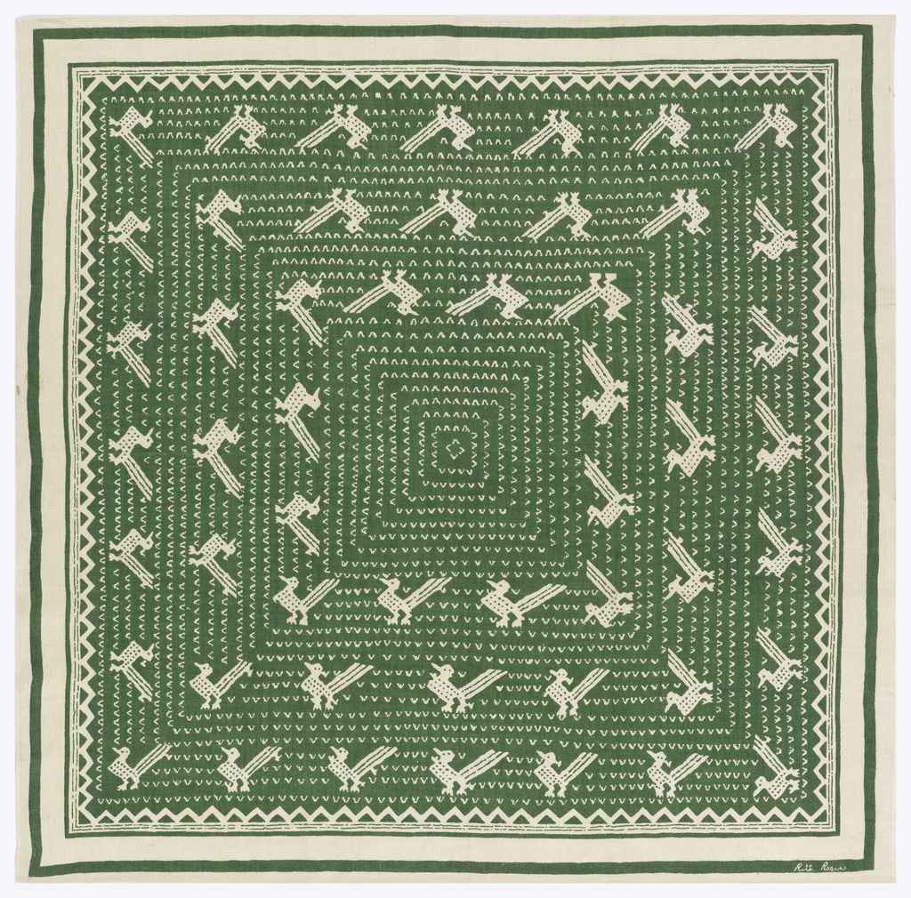Square tablecloth printed in green on an undyed linen ground with a pattern of chevrons and stylized Guatemalan birds.