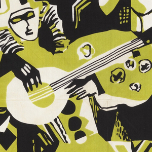 Stylized print of harlequin playing a stringed instrument for a woman in a hat, set against a background of buildings, with an irregular vertically striped border. Printed in green and black on white, with green as the visual background.