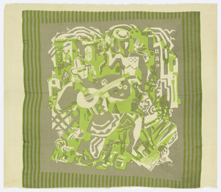 Stylized street scene of harlequin playing a stringed instrument, with woman and buildings in background. Printed in grey and green on beige silk.