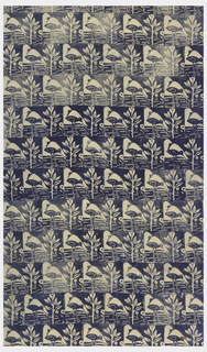 Offset units of landscape with bird catching fish printed in blue.