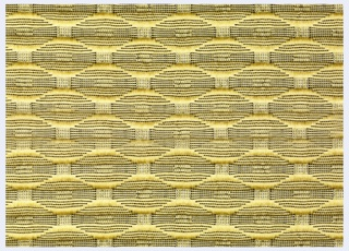 Length of woven upholstery with a small scale all-over pattern of black lozenges on a yellow ground with silver metallic accents.