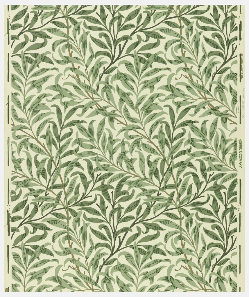 Willow leaves set in a serpentine arrangement, printed in blue, green and brown on white field.