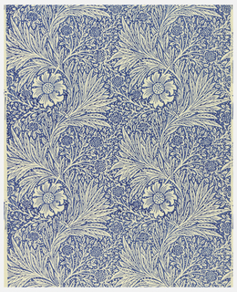 Repeating pattern of vertical stripes and flowers. Printed in white on royal blue ground.
