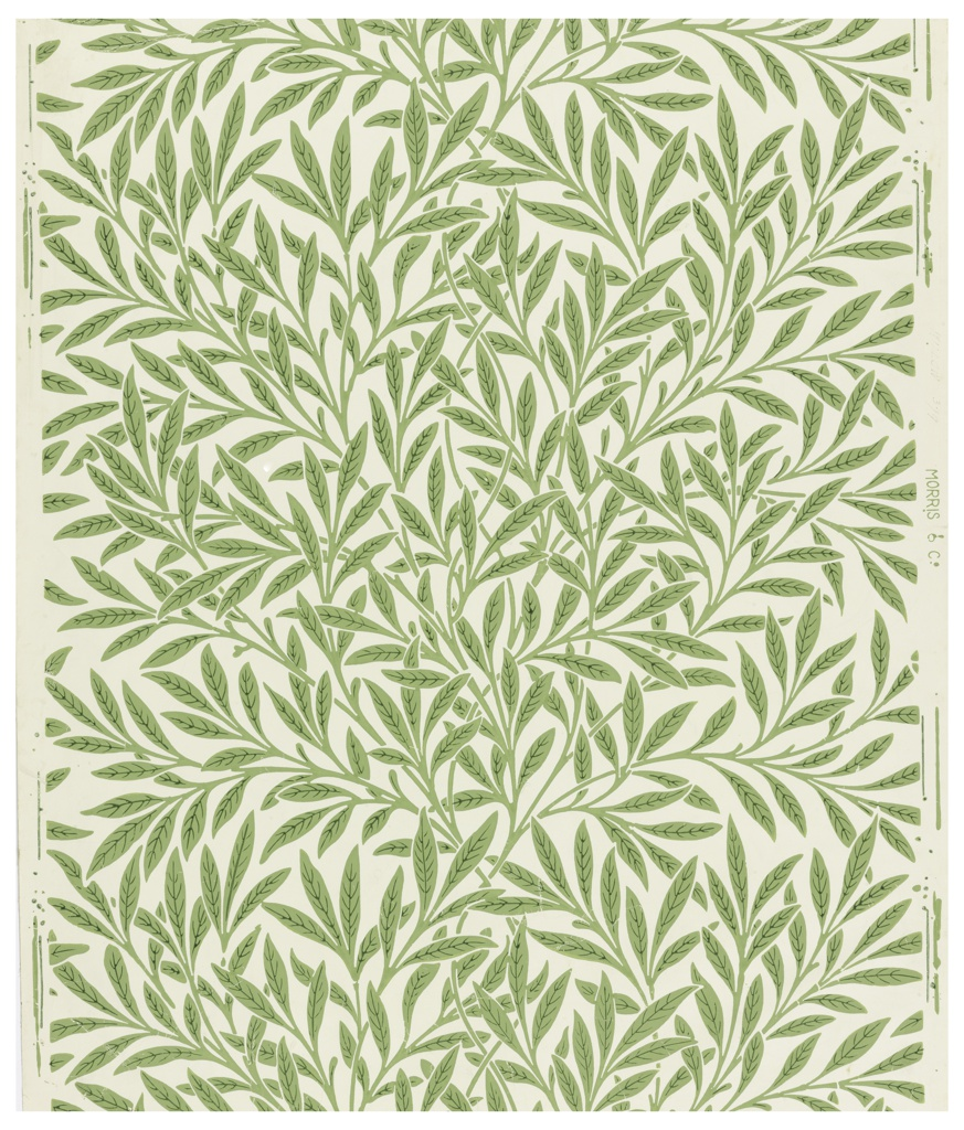 Willow leaves in a seemingly random pattern. Printed green on cream ground.