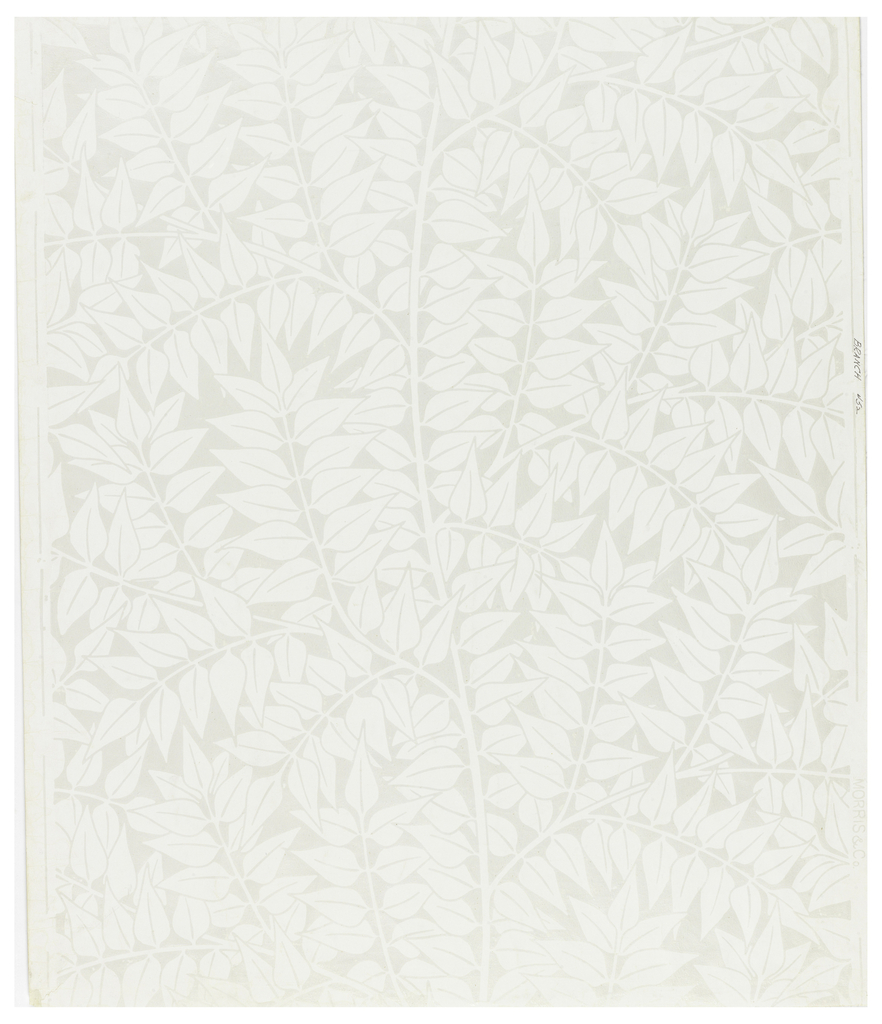 Repeat of simple laurel leaf clusters. Printed in white on semi-glazed field.