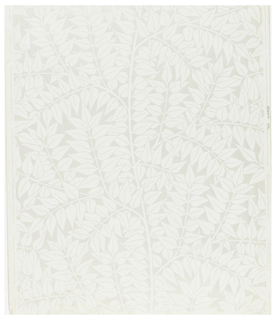 Repeat of simple laurel leaf clusters. Printed in white on semi-glazed field.