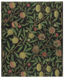 Diagonal branches with pomegranates, other fruits and sparse flowers. Printed in shades of green, reddish pink, brown, light grey on navy or black ground.