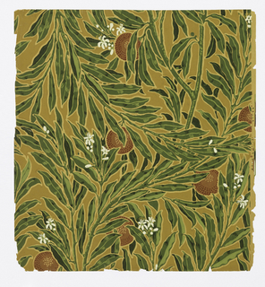 Full width giving slightly less than one repeat of a design of orange branches with blossoms and fruit. Printed in reds, greens and off-white on brown ground.