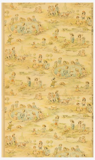 "Children's wallpaper with reproductions of drawings by Kate Greenaway. Originally designed about 1902. Scene depicts children at play. One group is around a pool with fountain sailing boats. Another is playing at gardening. Some are at play with pails of sand. One small boy is driving a team of goats with two little girls in back seat of cart. Printed in selvedge: ""British Made."" Components ""a"" and ""b"" are the same design."