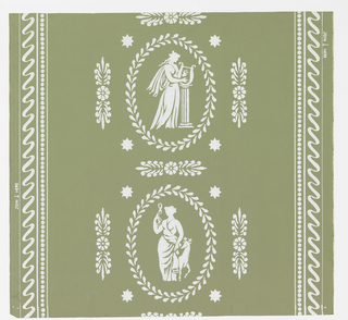 "White classical figures alternating vertically, reminiscent of Flaxman's plaques. Anthemion embellishments, Vertical bands of and serpentine ribbon at left and right. ""a"" printed on green ground; ""b"" on blue ground."