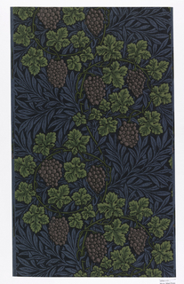 "a) ""Vine"" printed in blues, lavenders and greens. Printed from nine woodblocks; b) ""The Wreath"" printed in tan, two shades of blue and green. Floral design for ceiling; d) ""Net Ceiling"" printed in two shades of gray-blue, gray-chartreuse. Flat flower and leaf forms springing from central quatrefoil."