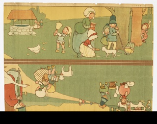 Nursery or children's border with Mother Goose vignettes illustrating nursery rhymes such as old woman in shoe, Little Bo Peep, etc. Two bands to be joined printed on one strip. On brownish ground, shades of green, yellow, red, blue, white, in strong black outlines.