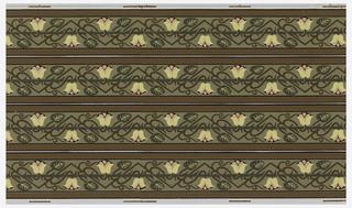 Wallpaper roll. Printed four across, stylized tulips on zig-zag stems, wrapped around thorny rod.