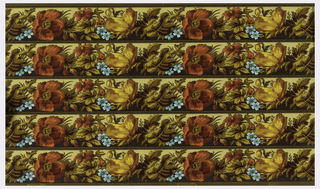 Wallpaper roll. Printed five across, large red and yellow flowers, with foliage, and small blue flowers.