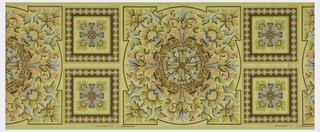 Wallpaper roll.  Ceiling medallion, with large circular medallion having four corners, containing pink and blue flowers. Two square medallions between circles. Printed on tan ground.