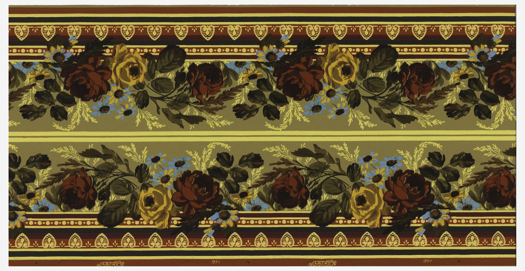Wallpaper roll. Printed two across, large red and yellow roses with foliage, with small blue daisy-like flowers interspersed.