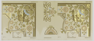 Wallpaper roll.  Ceiling border corner with stylized floral and foliate motifs. Printed in copper, blue and olive green on taupe ground.