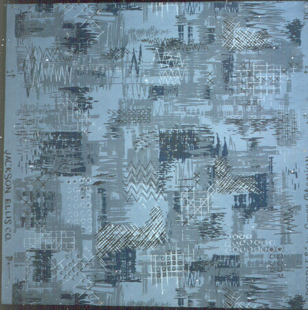 Non-representational design with hatchings, brown and white, and daubs, blue and gray in random arrangements. Printed on pale blue ground.