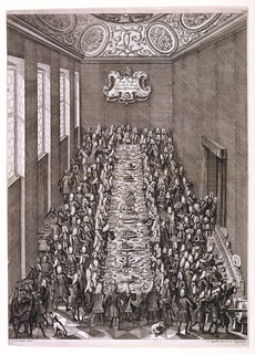 "A bird's-eye view into a high ceilinged room with honeycomb windows on the left and an ornately ornamental ceiling.  A table, set with all manner of dishes and food, extends the length of the room.  The be-wigged banquet guests surround the table while servants carrying food occupy most of the remaining floor space.  Escutcheon on rear wall reads:  ""Freij Taffel/der N.O. Dreij/Obern Hn [""n' superscripted] Stäendten""."