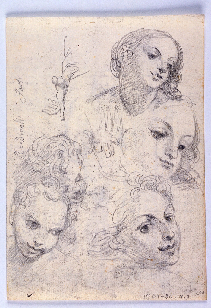 Study for or after image of Saint Sebastian. Saint figure appears in loin cloth before column set within an arch described at left. In background, view into city street with foreshortened building at right and partial view of building at left.  Verso: studies of women's and children's heads with separate studies of hands.