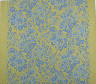 Drop repeating design of blue flowers and leaves in undulating ascending columns. Straight across match.
