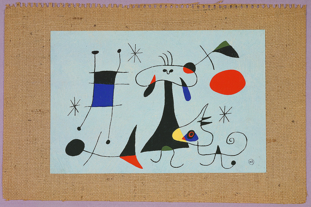 """Mural miniatures of large-scale wall decorations designed especially for silk screen reproduction by the artists Calder, Matisse, Matta and Miro. They are entitled respectively, """"A Piece of My Workshop"""", """"Arbre en Fleur"""", """"Sun Dice"""" and """"El Sol."""" Originally part of a samplebook with information on the artists. Each print is attached to a stiff piece of burlap."""