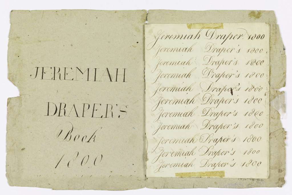 Small handmade booklet used by the author for practicing penmanship exercises.  Multiple sheets are inscribed with the author's name in cursive script followed by the date 1800.  Book cover is made from a sidewall fragment dating to ca. 1790s.  The cover design consists of two horizontal registers of running leaves and small floral motifs separated by a band of small, rectangular-shaped forest-green checkerboards.  The upper register of leaves is highlighted with white and black flowers.  The lower register is composed entirely of small black and white flowers on vines.