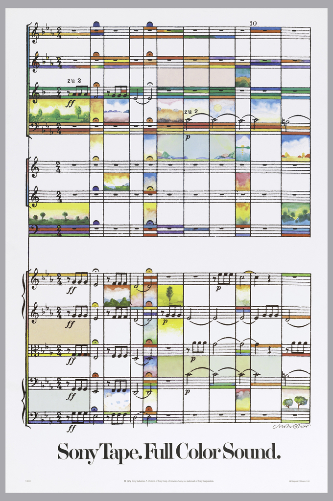 Poster depicts a sheet of music, colored with tiny landscapes in between measures. Text in black, lower center: Sony Tape. Full Color Sound.