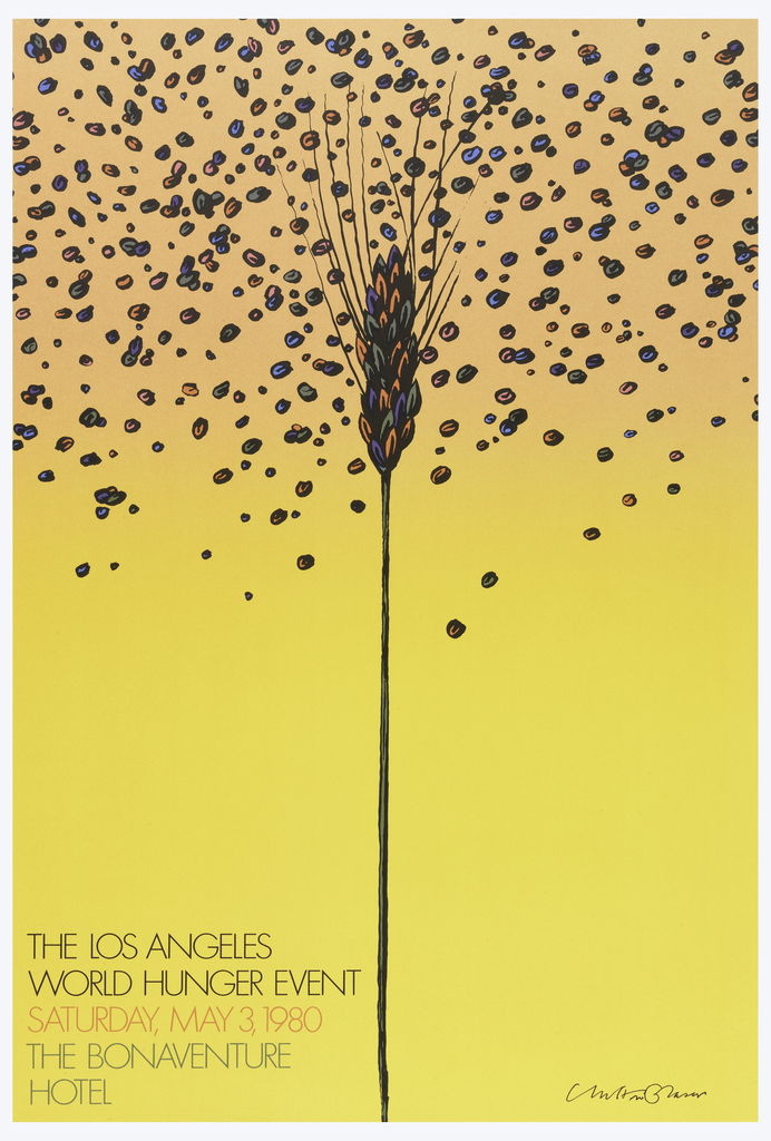Poster depicting wheat stalk with grains blowing around it in blue, red, and gray, against a yellow-orange background. Text in black, lower left: THE LOS ANGELES / WORLD HUNGER EVENT / [in orange] SATURDAY, MAY 3, 1980 / [in gray] THE BONAVENTURE / HOTEL.