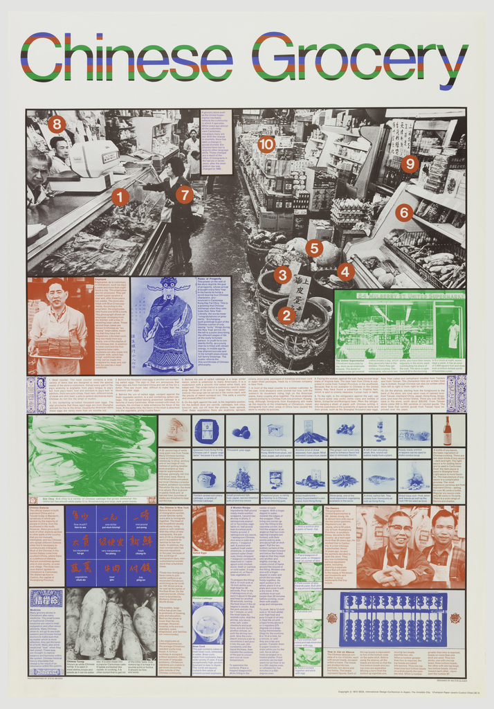 Poster depicts photographs of a Chinese grocery, people, and produce with certain objects highlighted and explanations in the text throughout. Text in blue, green, black, and red, in upper margin: Chinese Grocery.