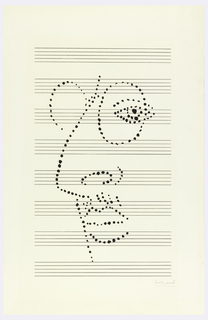 Dot portrait on music paper.
