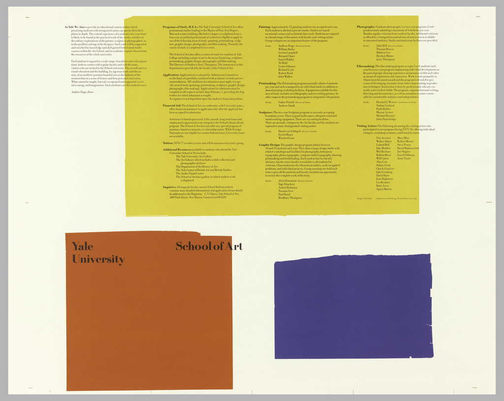 Three rectangles (in order of size) of yellow, red, and blue; much text (mainly within yellow) about Yale MFA program in art.