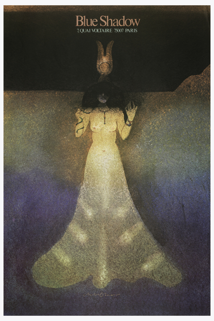 Poster depicts a partially nude woman wearing a morphing yellow dress and a headdress. She is in the style of late nineteenth-century femme fatale. Text in pink, upper margin: Blue Shadow / [in white] 7. QUAI VOLTAIRE 75007 PARIS.